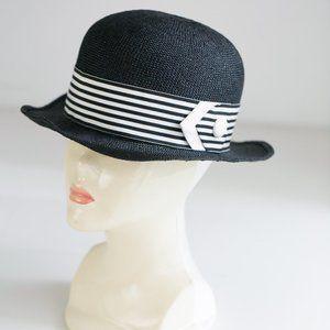 Vintage Navy Blue Fine Straw woven Bowler  Hat